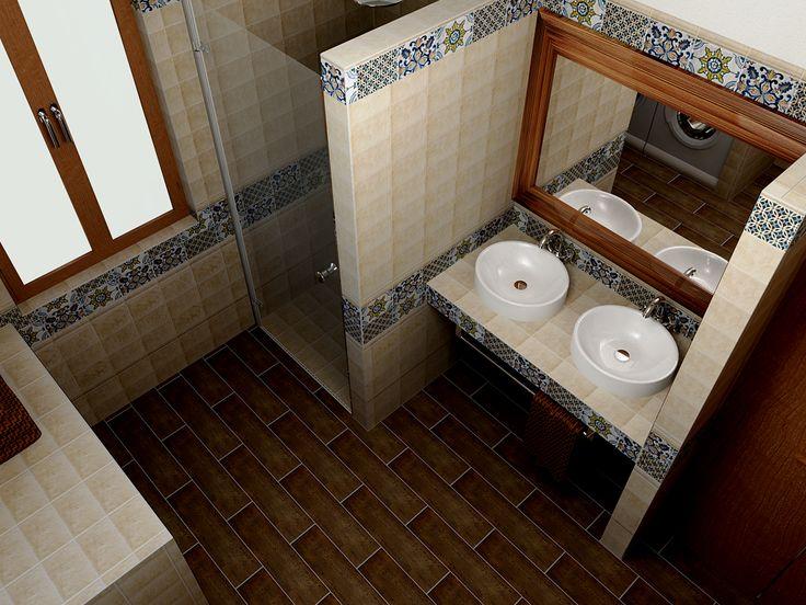 Zuhanyzó + mosdó + csempe