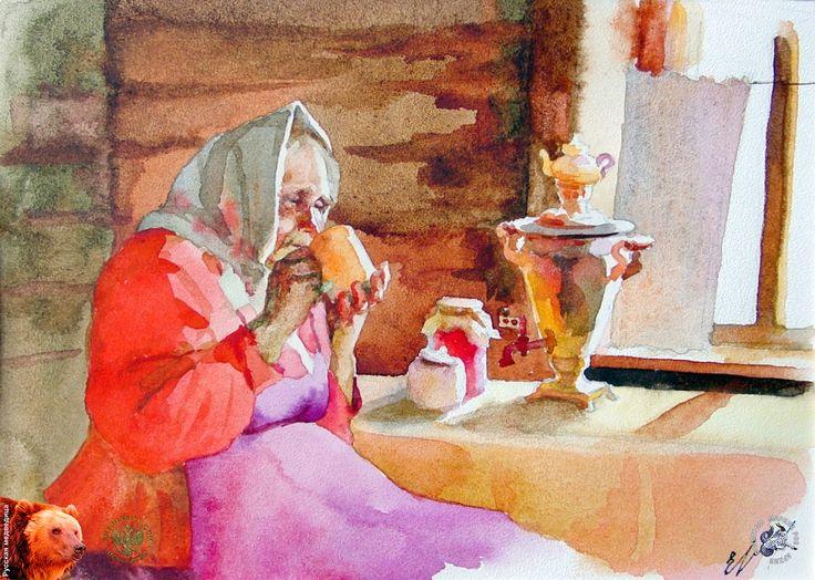 Ермаков Геннадий Иванович - Бабушка у самовара. Бумага, акварель. 20х30. 2001. Ермаков Геннадий Иванович