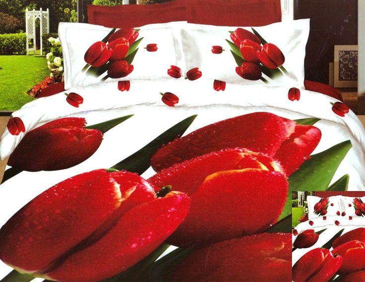 Czerwone tulipany pościel 3D w kolorze białym