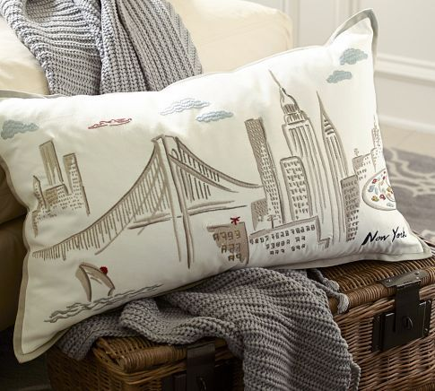 #POTTERY BARN# New York City Embroidered Lumbar Pillow Cover