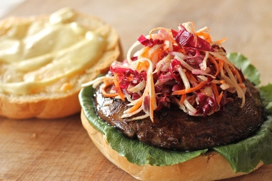 Portobello Burger with Pickled Veggies and Honey Dijonnaise! They pan saute these but I would probably throw them on the grill--love that smokey flavor :]