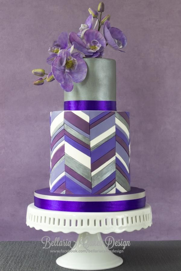 Keuken Ontwerpen : Purple Chevron Wedding Cake