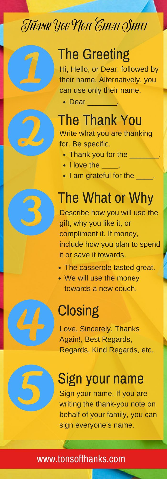 Thank you note cheat sheet! Use these 5 steps to write most thank you notes.