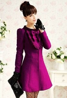Outdoor Trench Coat: Purple Bow Trench Coats for Women - Cute Bow Trench Coats for Women - Inspiring & lovely Trench Coat with Purple Trench Coat,Traveling Trench Coat,Bowknot Trench Coat, Love it!