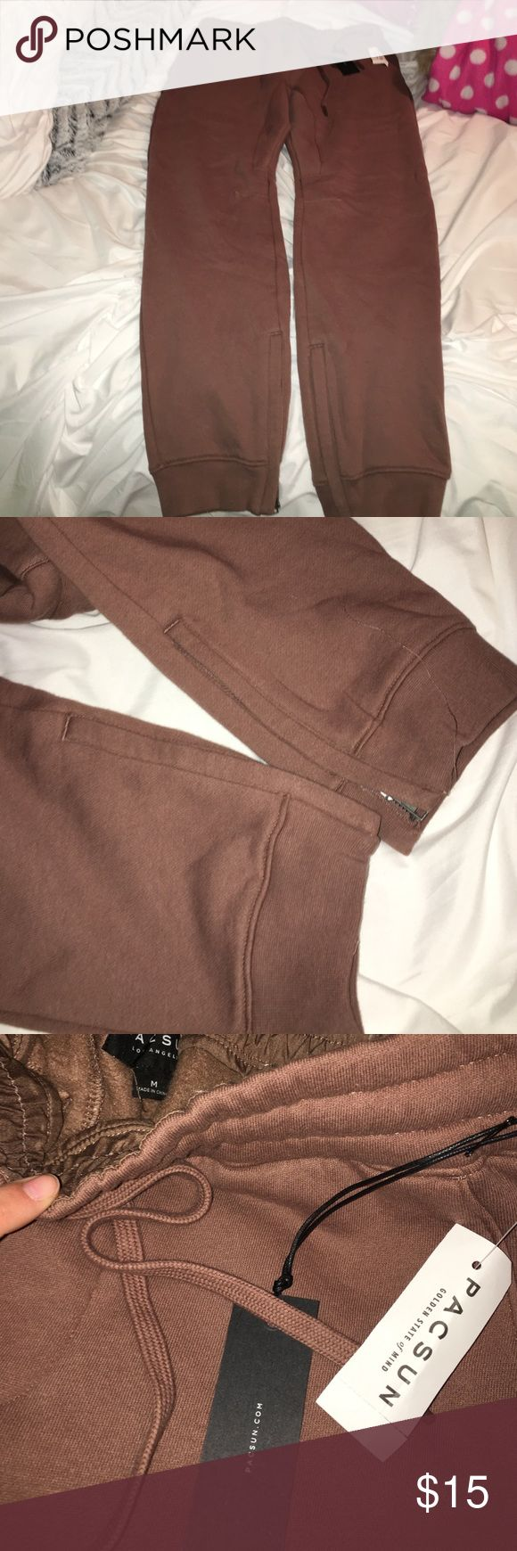 pacsun joggers brown joggers with zippers PacSun Pants Sweatpants & Joggers
