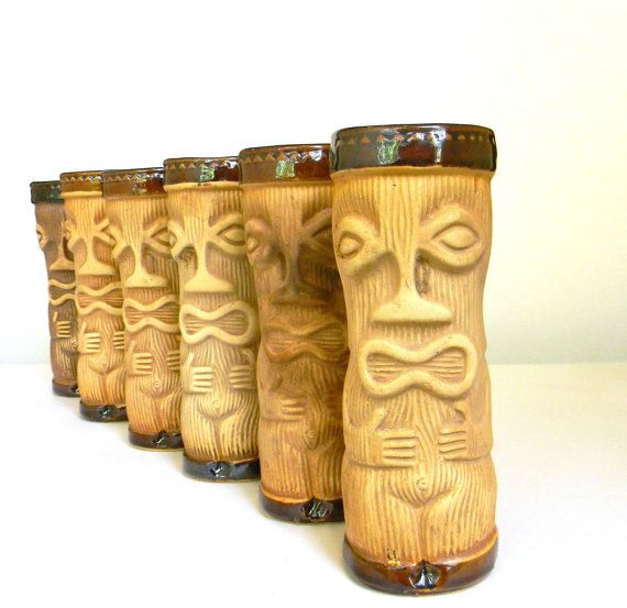vintage Tiki Mug set of six  PMP Paul by Mylittlethriftstore, $60.00