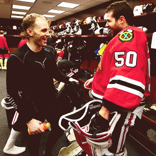 Patrick Kane and Corey Crawford known for their amazing play and ability to do drunk speeches.