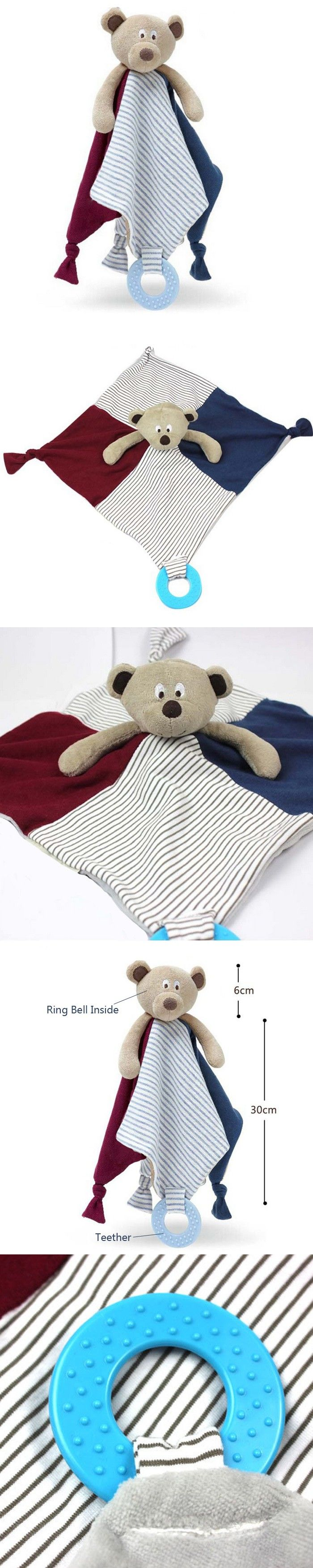 New Baby Comforter Toy Teether Cute Cartoon Bear Soft Plush Rattle Ring Bell Multifunctional