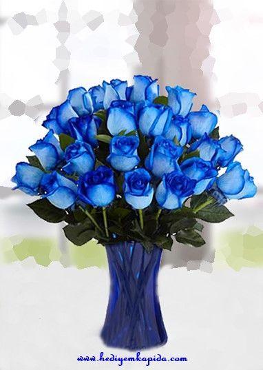 25 Mavi Gül Aranjman