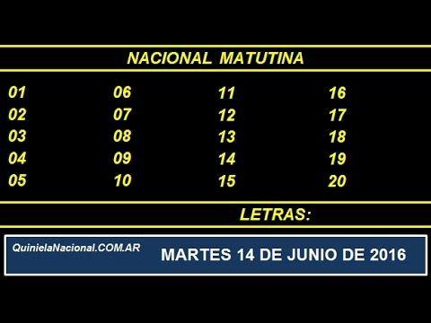Quiniela Nacional Matutina Martes 14 de Junio de 2016 www.quinielanacional.com.ar
