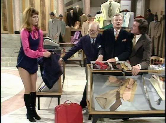 (PHOTO: BBC)  Before They Were Famous: The Celebrities You Didn't Spot In Classic Sitcoms:  Joanna Lumley in 'Are You Being Served?' (1973) The 'Ab Fab' star played two different characters, in two separate episodes of the show, which was written by her then husband Jeremy Lloyd.