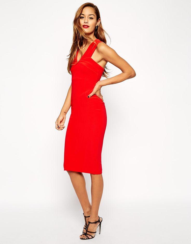 ASOS Sexy Double Strap Midi Body-Conscious Dress