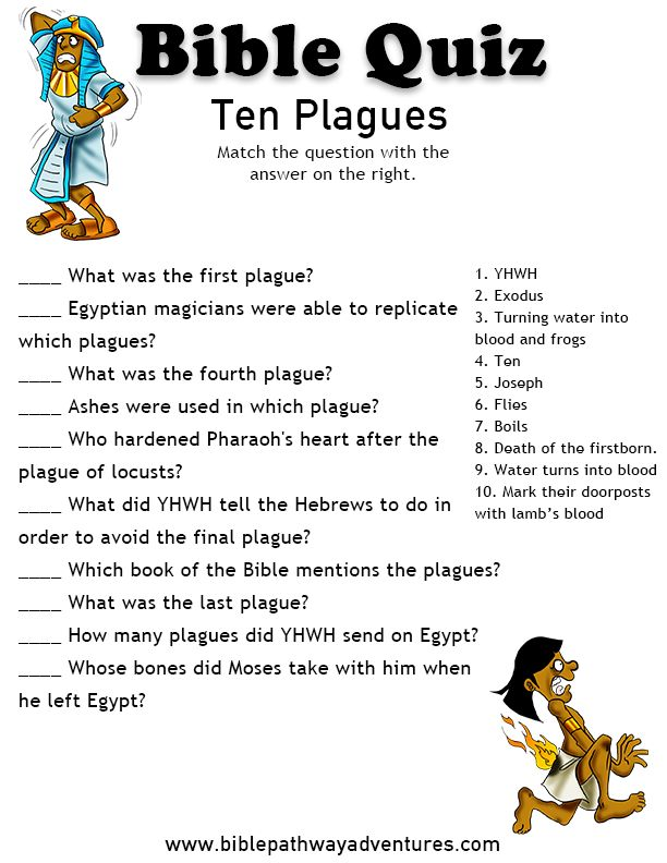 Printable bible quiz - The Ten plagues