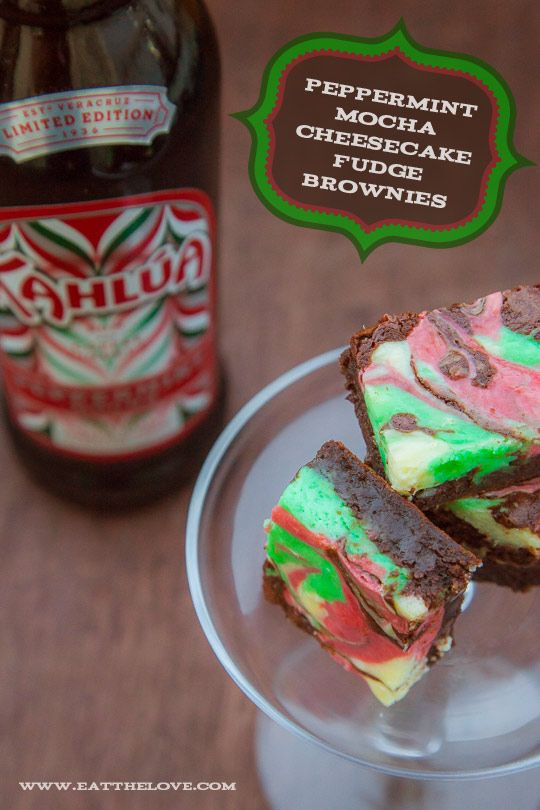 Peppermint Cheesecake Brownies featuring @Kahlua Peppermint Mocha are easy to make and beautiful to serve! #KahluaHoliday