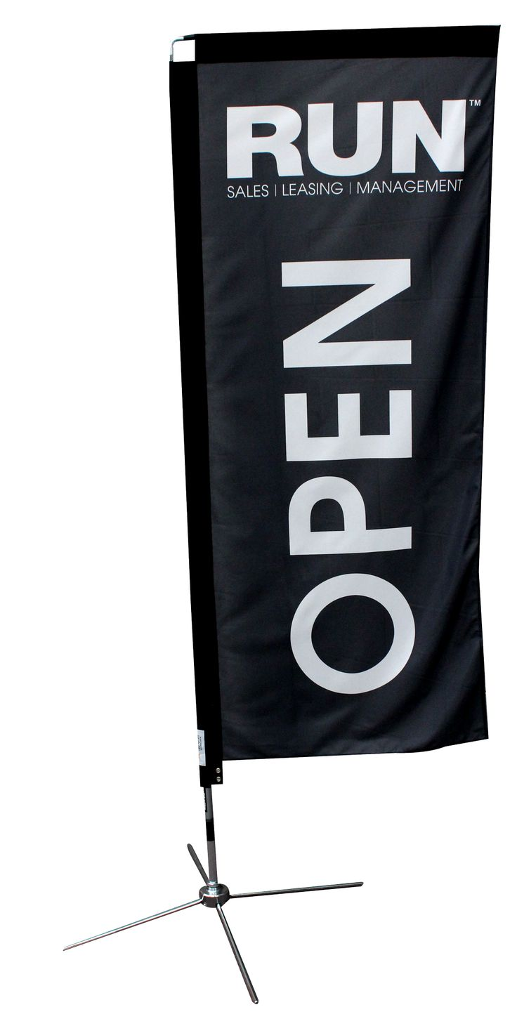 Hanging Banners have the most coverage for more detailed messages or text. They are effective as either single or double sided.