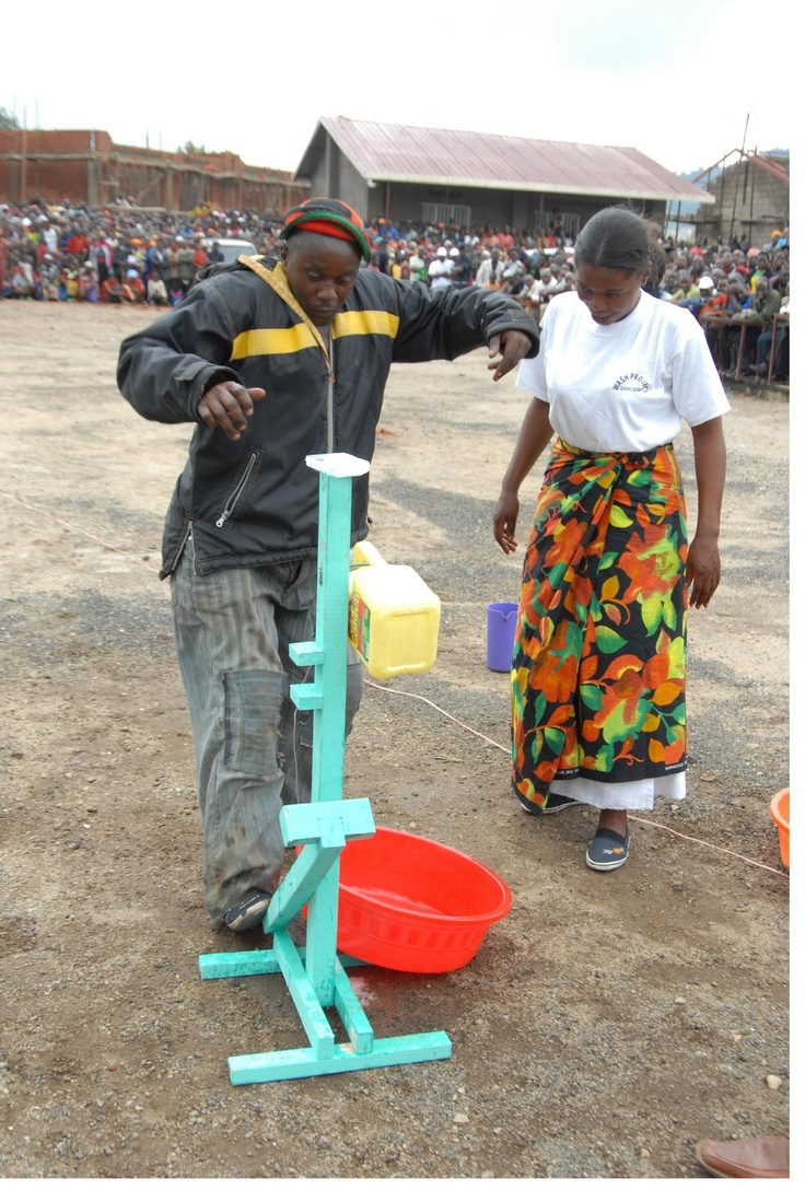 Handwashing enabling device actioned by foot, leaving hands free to apply soap and reduce risks of cross-contamination. Help to manage water wisely in areas where it is scarce.