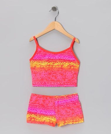 Look what I found on #zulily! Pink Aztec Tankini - Girls #zulilyfinds