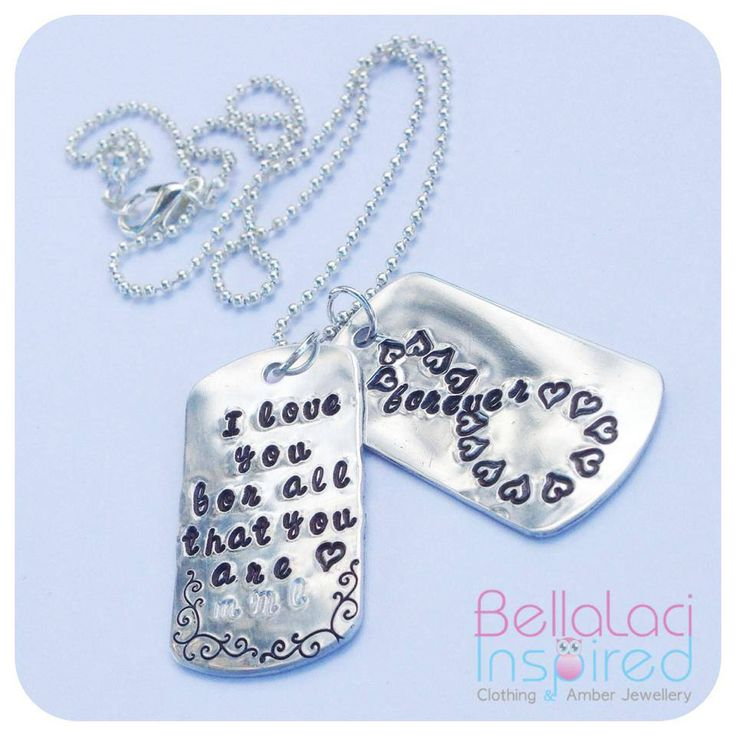 """Handstamped Sterling Silver Wedding Vow Dog Tags. """"I love you for all that you are"""" and a """"forever & infinity"""" symbol on the other tag."""
