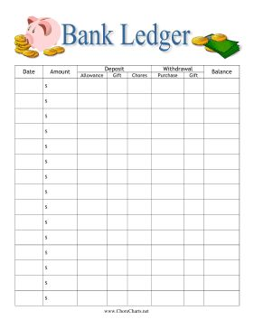 Help children learn about money with this printable bank ledger for kids, decorated with coins, bills and a piggy bank. Free to download and print