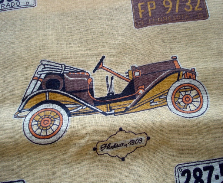 1950s VIntage Cotton Novelty Print - Vintage Cars and License Plates. $16.00, via Etsy.