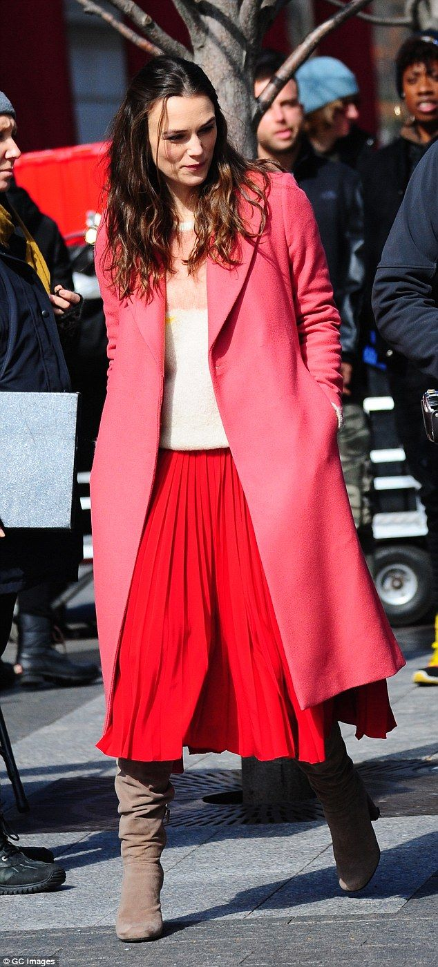 Blooming beautiful: Keira Knightleywas worlds away from her usual monochrome look in a wildly colourful outfit on the New York set of her latest film Collateral Beauty on Sunday