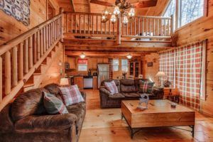 The living room of a cabin in Pigeon Forge