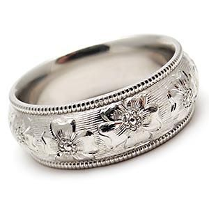 Hawaiian Flower Motif Solid Platinum Wedding Band My From Our Vow Renewal In Maui So Pretty You Should Of Put A Ring On It