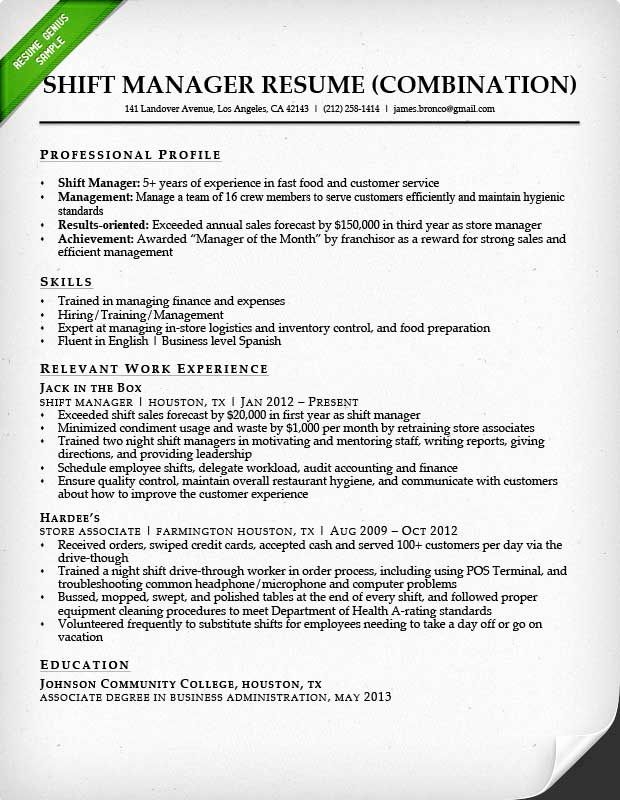 Combination Resume Template Word Unique Fast Food Shift Manager Bination Resume Sample Resume Examples Resume Template Word Guided Writing