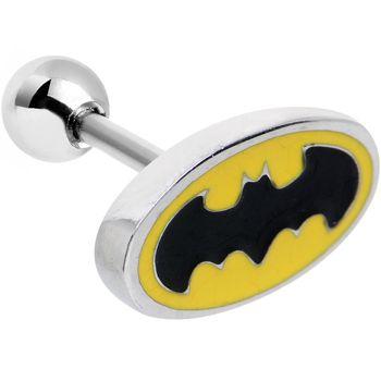 "18 Gauge 5/16"" Officially Licensed Steel Batman Logo Cartilage Earring | Body Candy Body Jewelry"