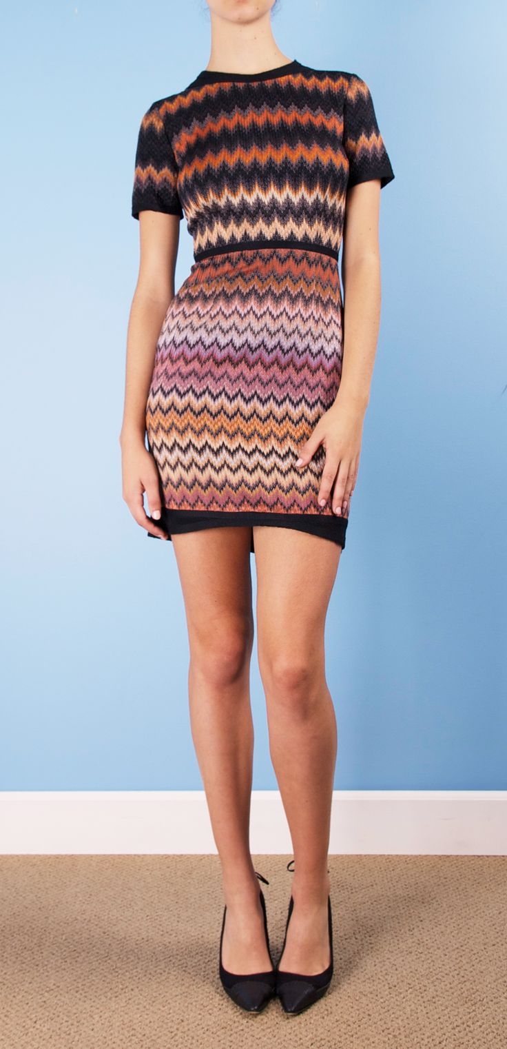 MISSONI DRESS  The bright zig zags, and color add so much pop in such a simple dress. It would look amazing with leggings, booties and a trench coat.