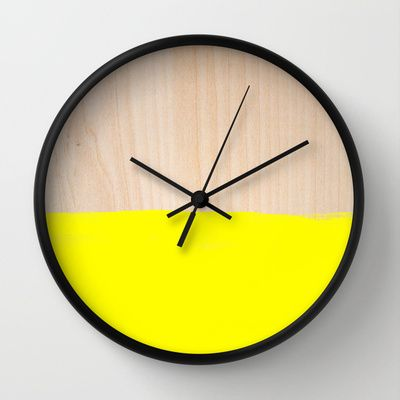 Sorbet V Wall Clock by Galaxy Eyes - $30.00 This would make a great kitchen clock. Black, White, and Yellow.