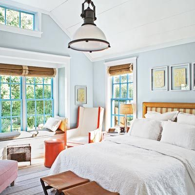 I love the light and the serene feel of this bedroom. The sitting area and window seat make it a real retreat. Great use of color and natural accents, too! | Leslie Monthan, Deputy Copy Chief | Photo: Marco Ricca Studio | thisoldhouse.com | from Create a Cottage-Style Bedroom