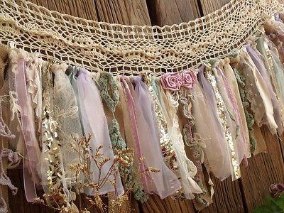 Lavander Mint&Gold sequin Garland Banner Garland Vtg Lace Burlap Valance Curtain