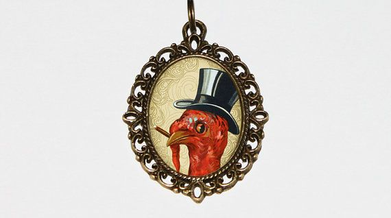 Smoking Turkey Necklace Oval Pendant by TheGoblinCave on Etsy