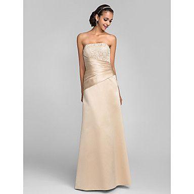 Sheath/Column+Strapless+Floor-length+Satin+And+Lace+Bridesmaid+Dress+with+Sash/Ribbon+(663672)+–+AUD+$+104.47