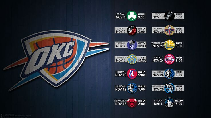 Oklahoma City Thunder 2017 Schedule Wallpaper