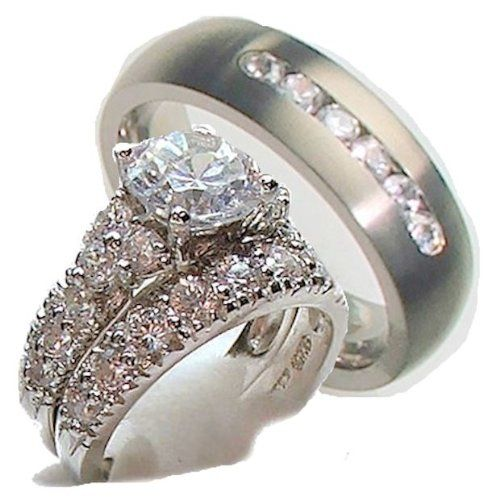White Gold Over Sterling Silver His & Hers 3 Piece Engagement Wedding Rin