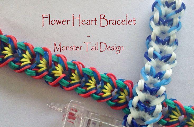 Made with the Monster Tail Loom. *Zuzu* Flower Heart Bracelet - Monster Tail Design