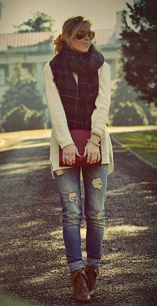 I am OBSESSED with this outfit! Ankle boots, cuffed skinny jeans, white sweater, scarf, and a purse with a cute hairstyle!