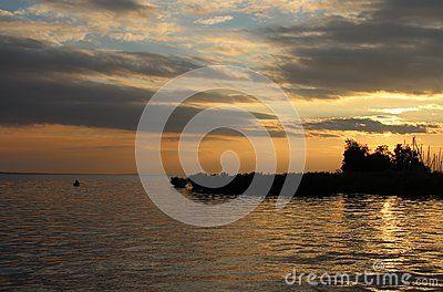 Sundown at Lake Balaton & x28;Hungary& x29;