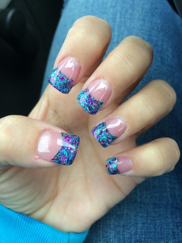 Pretty blue & purple solar nails