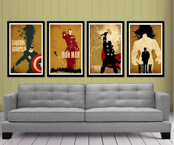 Avengers Movie Posters set by posterexplosion on Etsy, $50.00  Man I wish I was cool enough and rich enough to decorate my living room with these.