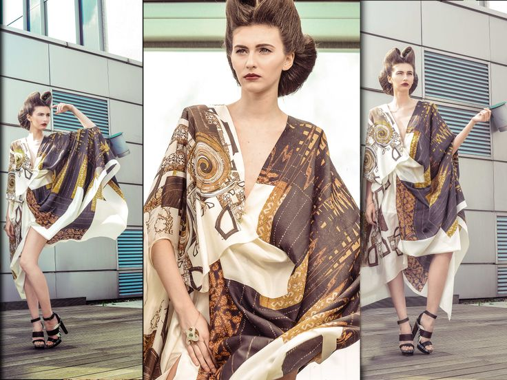 Sandra Galan Couture #silk dress inspired by famous #Romanian icon, Maria Tănase.   Fascinated by the #floral and #geometrical motifs of the vintage Romanian 'fote' (traditional wrap-around skirts that used to be hand embroidered with gold and silver thread) the designer created original #digital neo-op art #prints inspired by them.  #SandraGalan #SS2014 #draped #dress