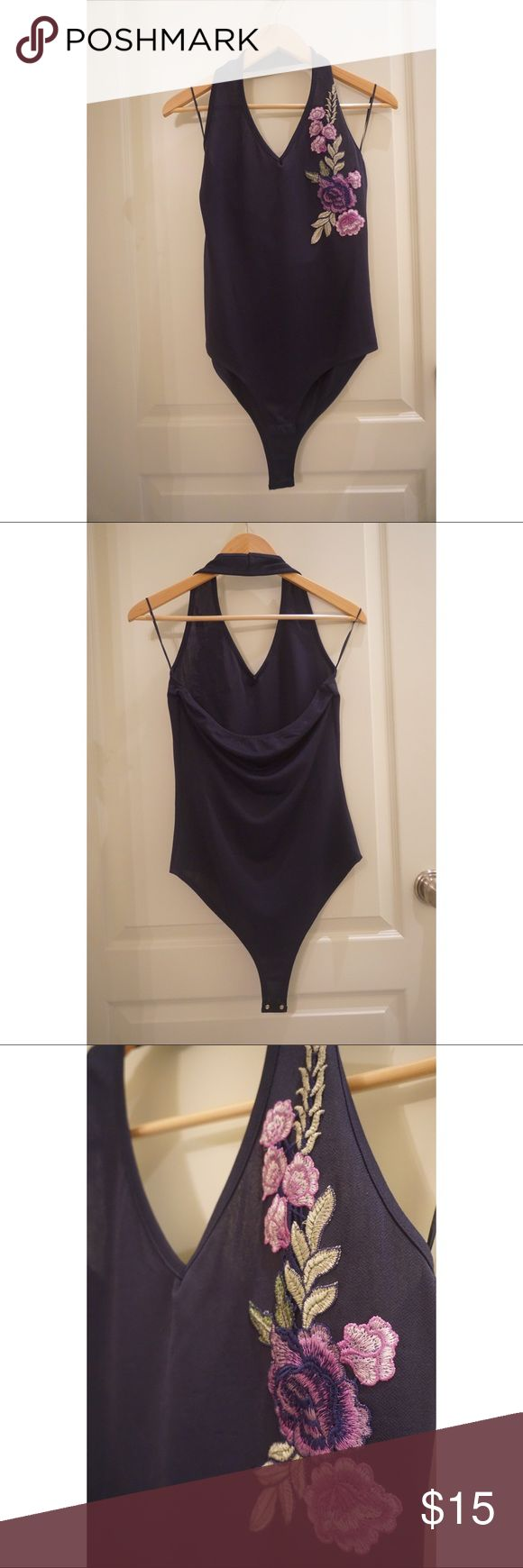 Halter Bodysuit Brand new halter bodysuit with embroidered design. Tops