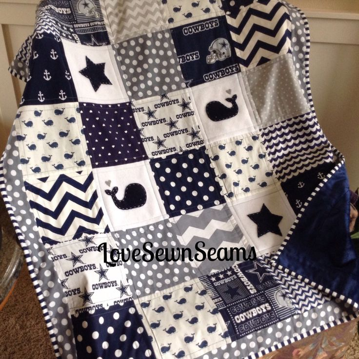 DALLAS COWBOY Baby Whale quilt in gray, navy and white by Lovesewnseams on Etsy