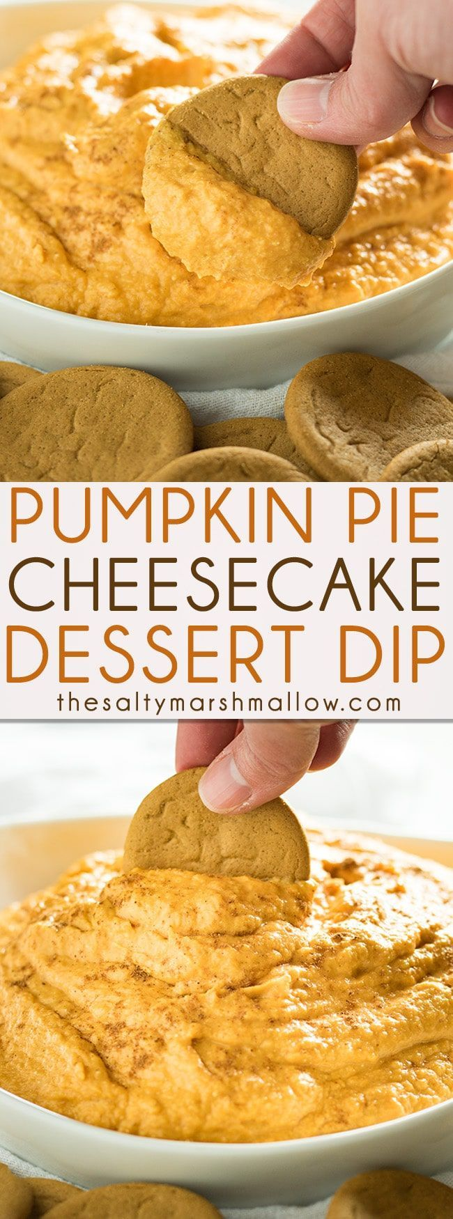 This Pumpkin Pie Cheesecake Dip is easy to make with only five ingredients. Cool whip free, this dip if full of cream cheese and pumpkin flavor! My favorite pumpkin dip recipe, this is great served with ginger snaps, vanilla wafers or fruit. Always a hit at any fall and holiday party or game day get together.
