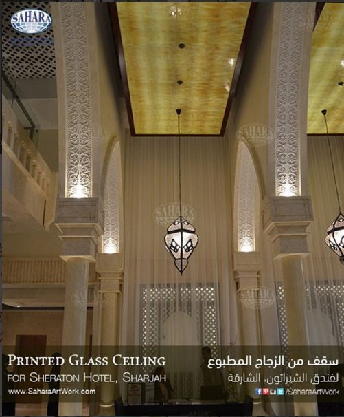 Fresh from site! Digital printed Onyx design ceiling inserts with backlight customized and made specially for this New Sheraton Hotel, ☆the Only Five Star Hotel in Sharjah