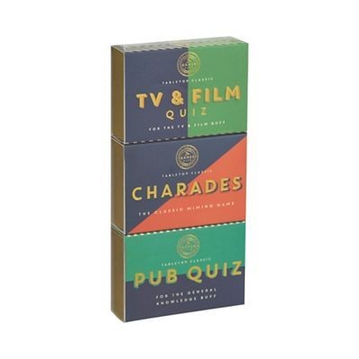 This set of three includes classic games that can be enjoyed by all friends and family. It comprises a tv and film quiz, pub quiz and charades.