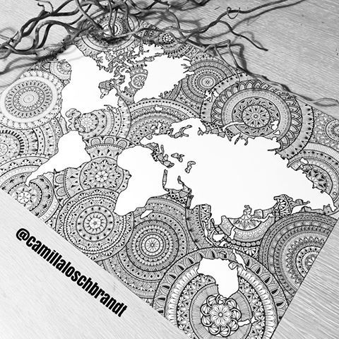 New mandala #worldmap - this time I made it using the iPad (my new bestfriend💕)