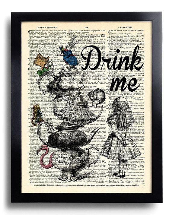 Alice au pays des merveilles Wall Art Poster Art, Alice au pays des merveilles cite impression sur page de livre, Alice Tea Party. Mad Hatter Vintage Alice Print 556